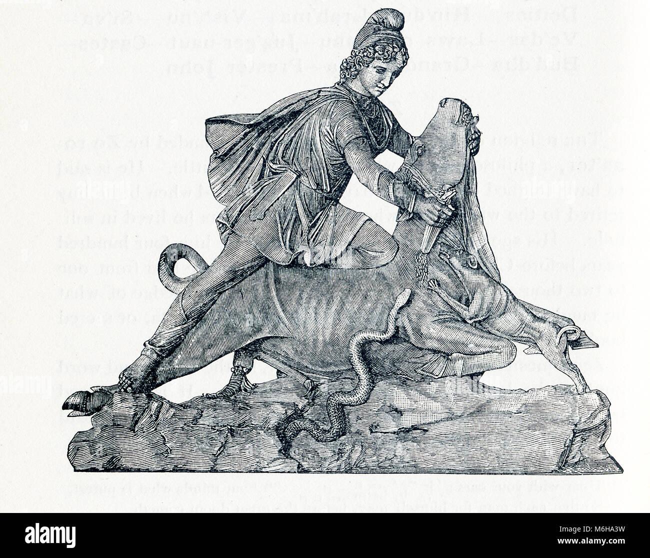 Cette illustration date d'environ 1898 et dépeint la sculpture de Mithra  (également orthographié Mithra) qui se trouve au Vatican. Mithra est  parfois connu sous le nom de Bull Bull abatteur et Slayer.