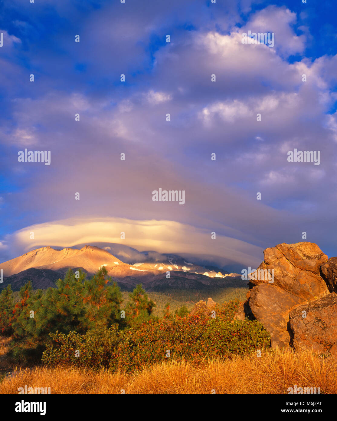 Nuage lenticulaire, Shastina, Mount Shasta, Californie, la Forêt Nationale de Shasta-Trinity Photo Stock