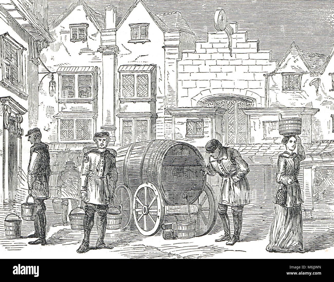 Old London porteurs d'eau, 17e siècle Photo Stock