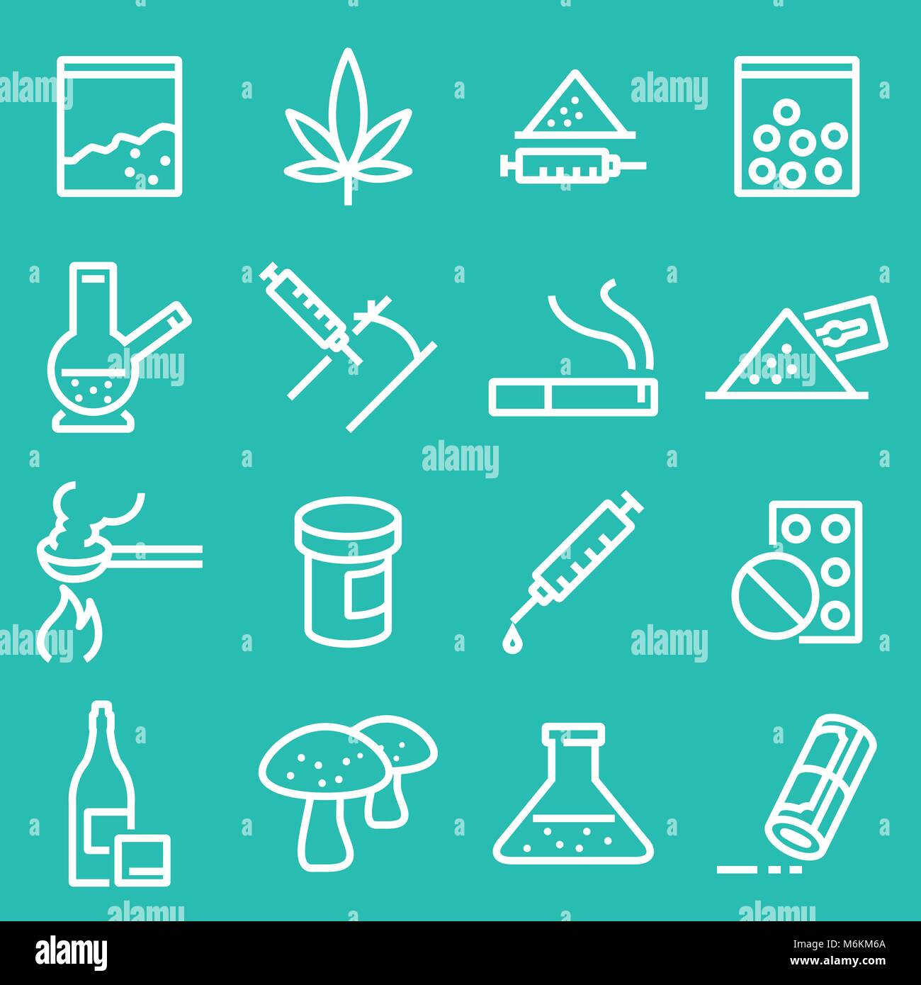 Médicaments Vector icons set. Icônes blanc ligne Photo Stock
