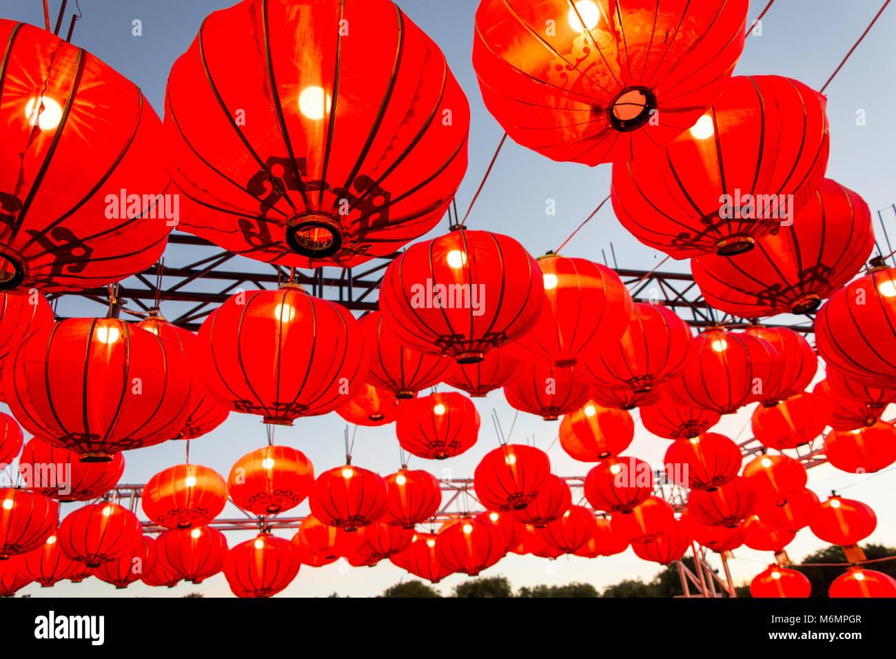 Lanternes chinoises à 'Noodle marchés de nuit' event en Amérique du Hagley Park, Christchurch, Photo Stock