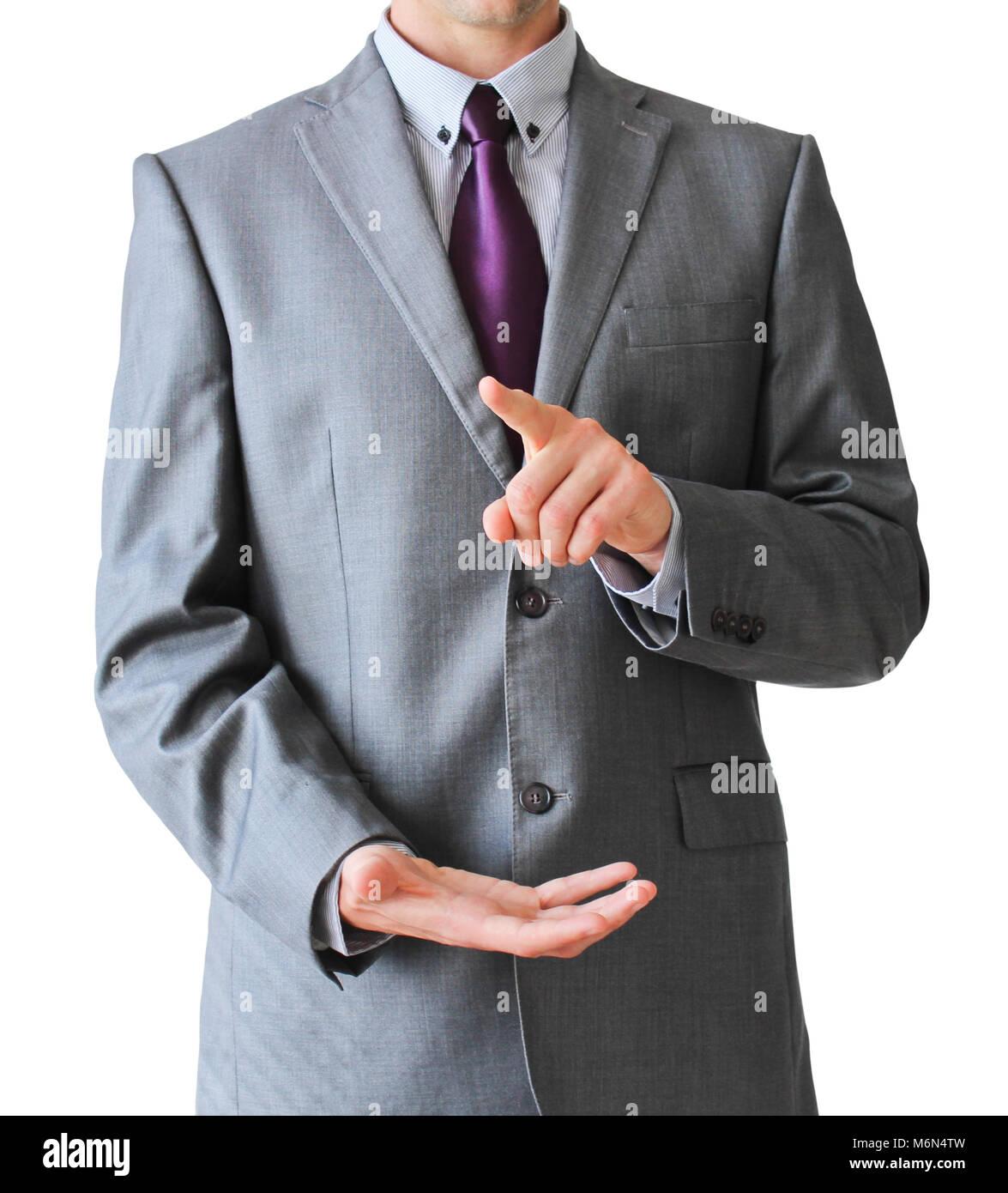 Appuyez sur l'homme d'affaires avec le doigt et de deuxième main, isolé sur fond blanc Banque D'Images