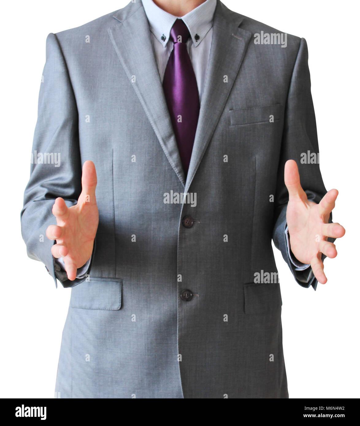 L'homme d'affaires avec de l'espace libre entre les mains, isolé sur fond blanc Banque D'Images