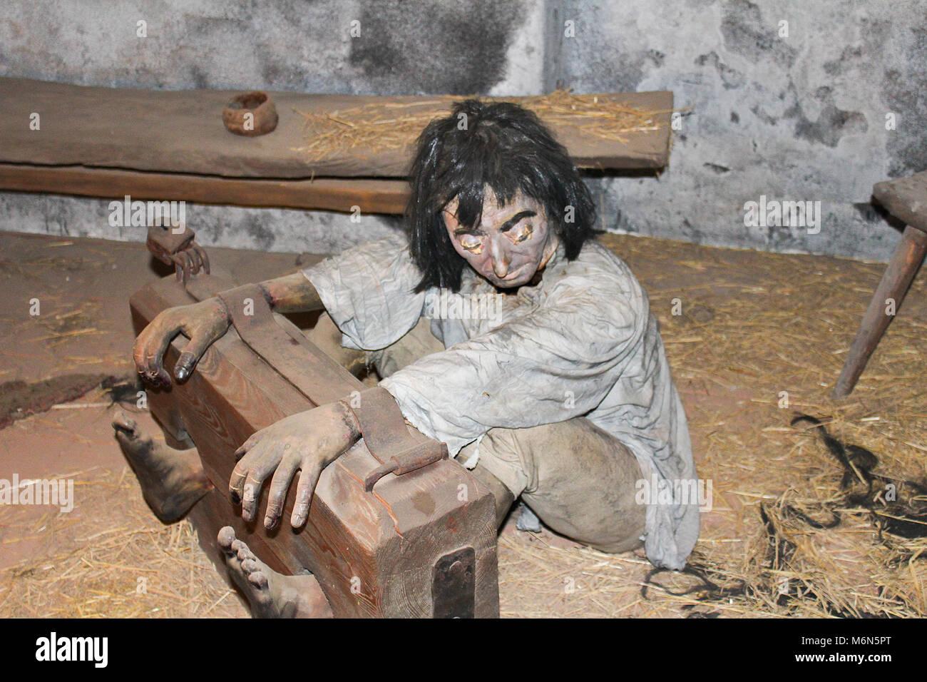 2017-09-01 - château de Loket, République tchèque, exposition de la torture, attachés à l'ancien mannequin, pratique Banque D'Images