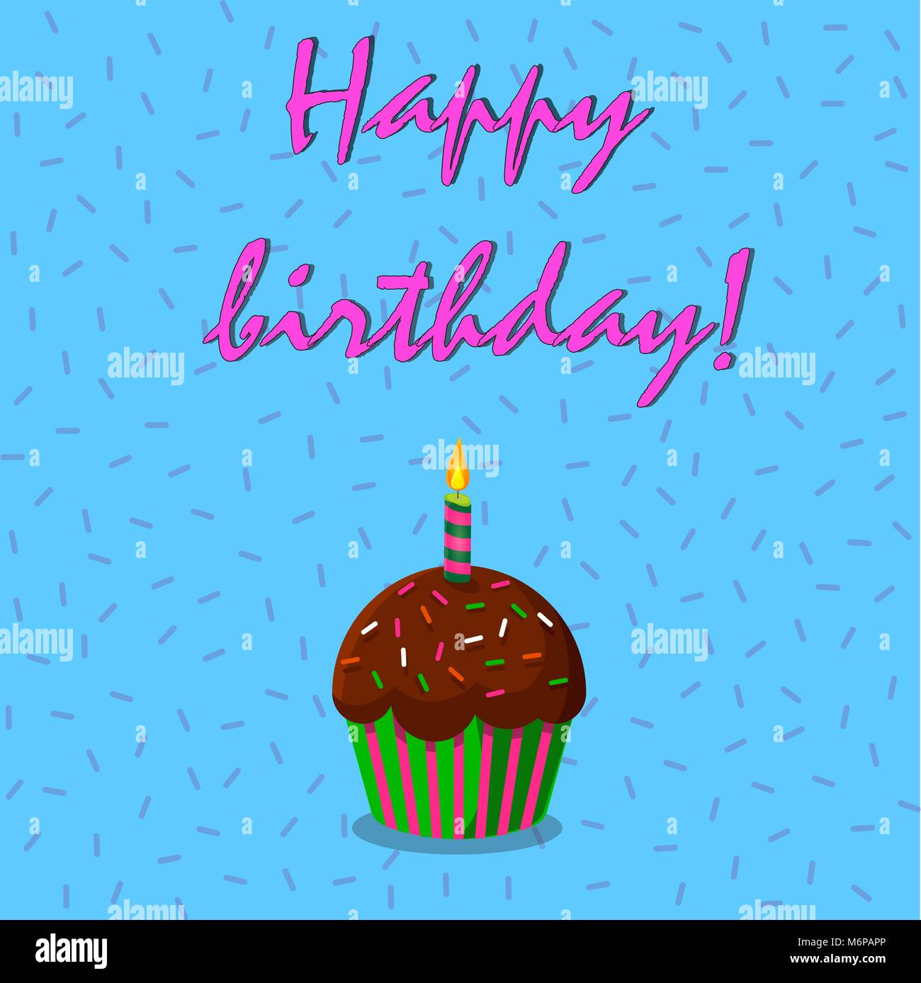 Happy Birthday Card With Strawberry Cup Cake Et Bougie Allumee Sur