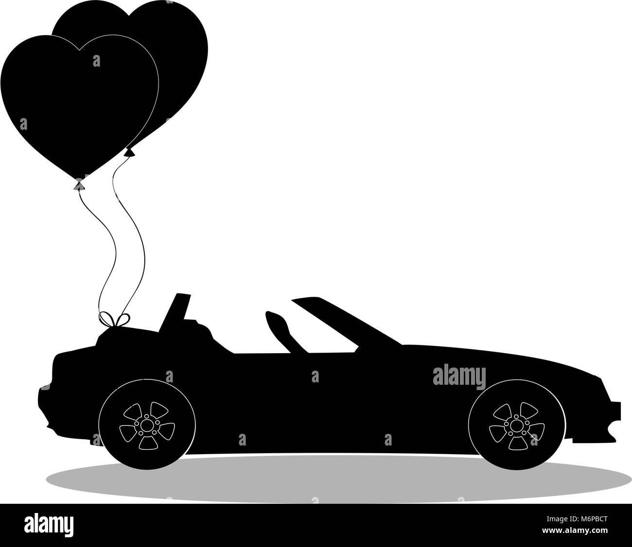 silhouette noire du dessin anim voiture cabriolet ouvert moderne avec paire de ballons en forme. Black Bedroom Furniture Sets. Home Design Ideas