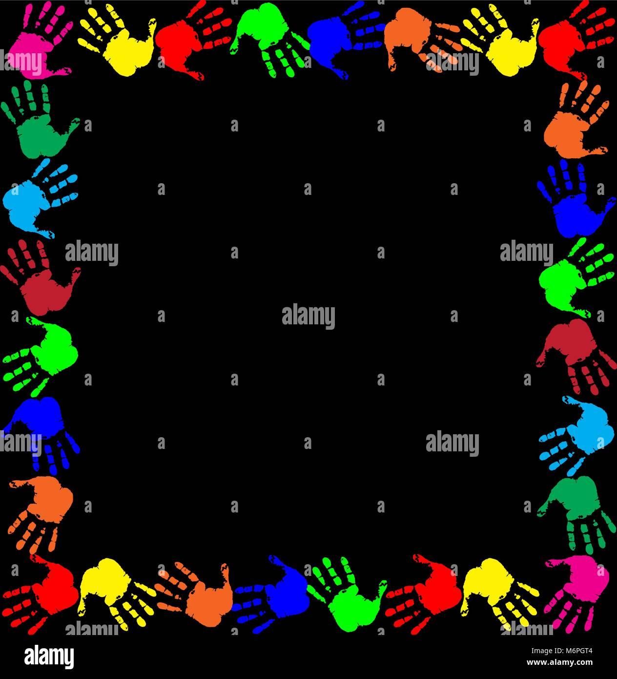 Arc-en-ciel lumineux cadre avec copie espace vide pour le texte ou image et empreintes multicolores border isolé Illustration de Vecteur