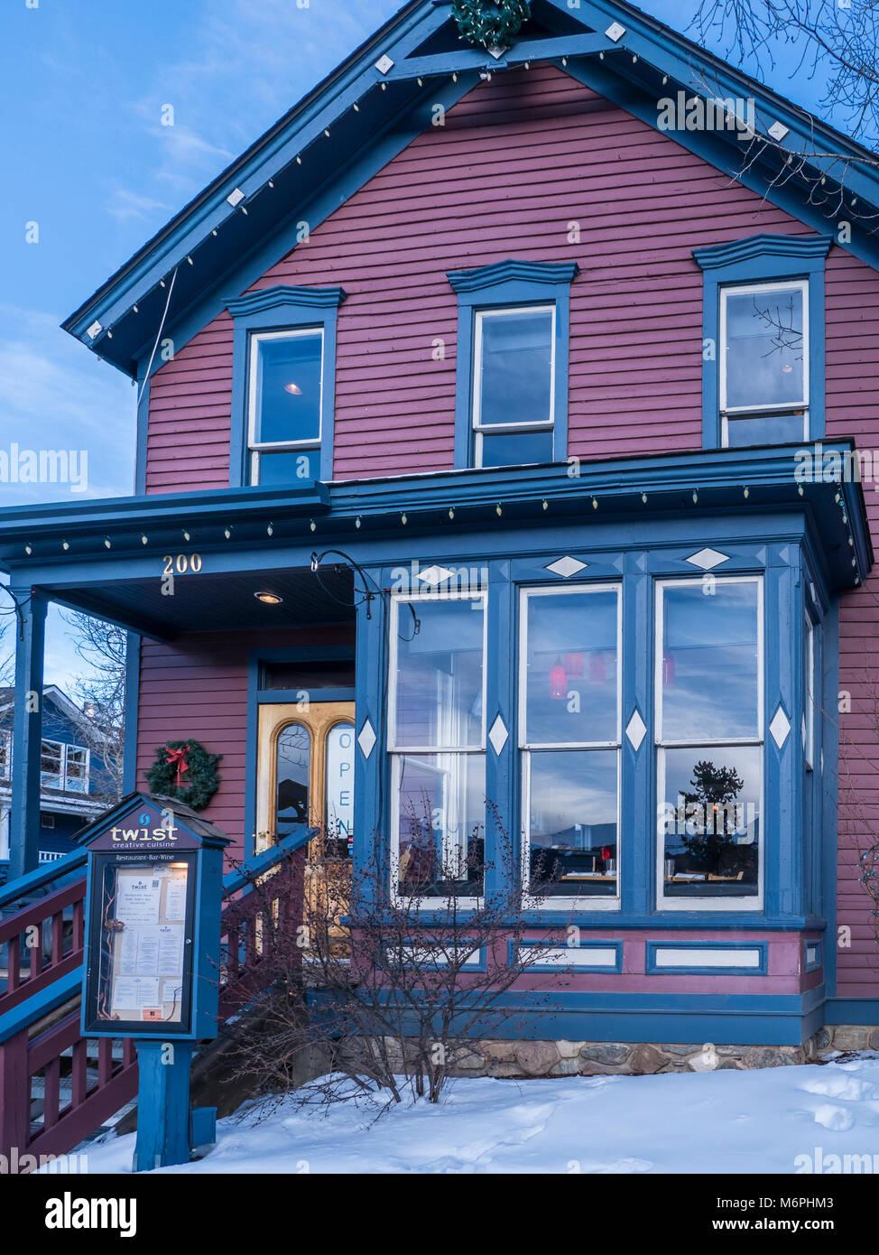 Restaurant Twist, le centre-ville de Breckenridge, Colorado. Photo Stock
