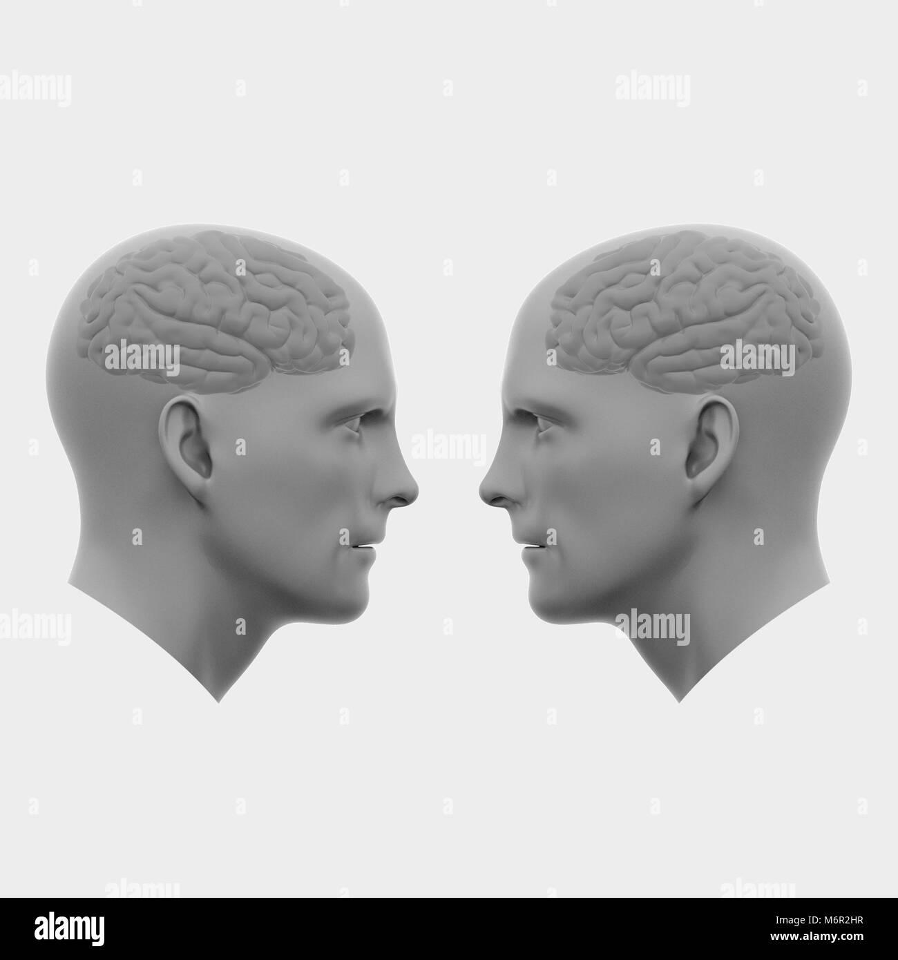 Deux Hommes Chefs Avec Des Cerveaux En Face De L Autre Art Abstrait