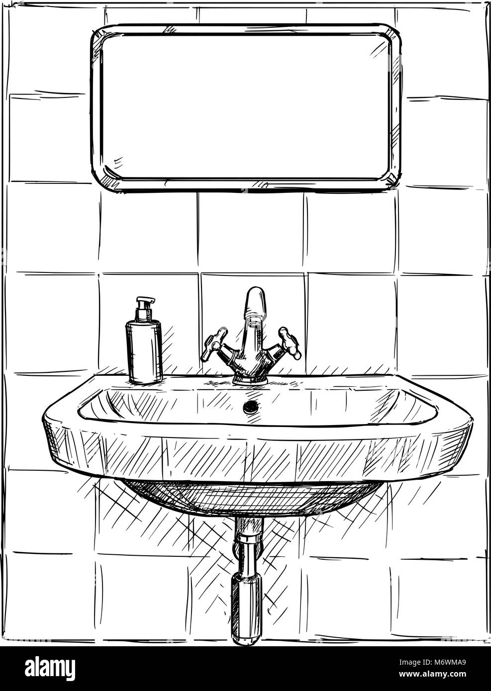 Dessin Salle De Bain vector dessin à la main d'évier et miroir dans salle de