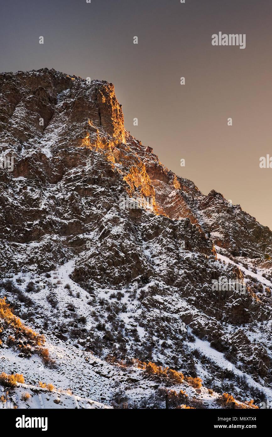 Gamme de montagne dans le Nouveau Mexique au coucher du soleil Photo Stock