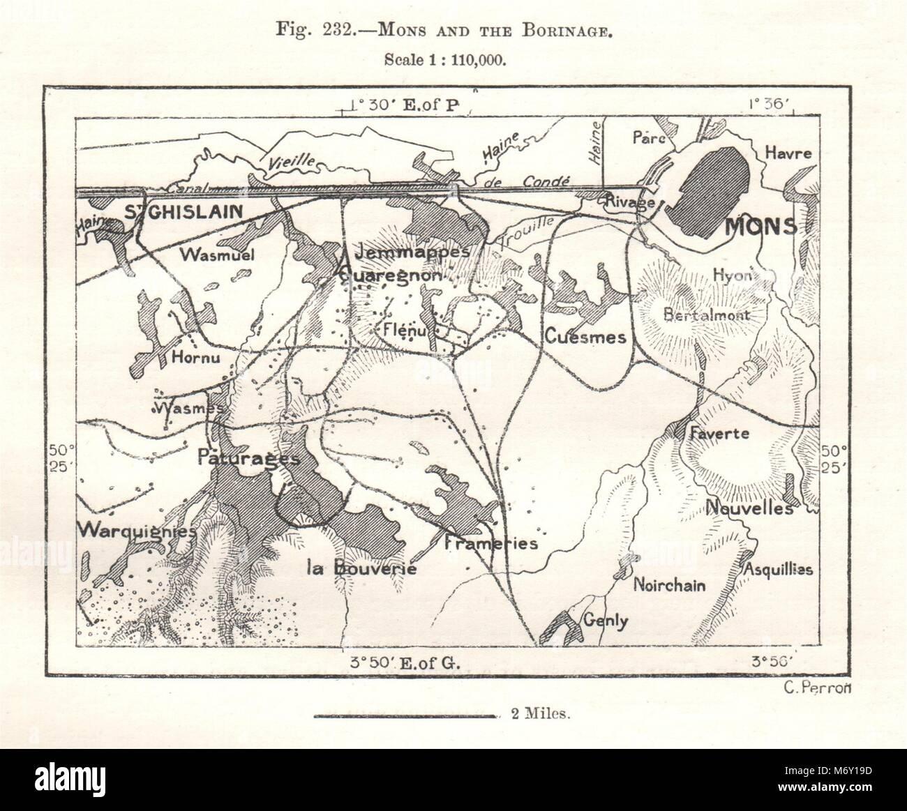 Carte Belgique Mons.Mons Et Le Borinage La Belgique Croquis 1885 Ancienne Carte Plan
