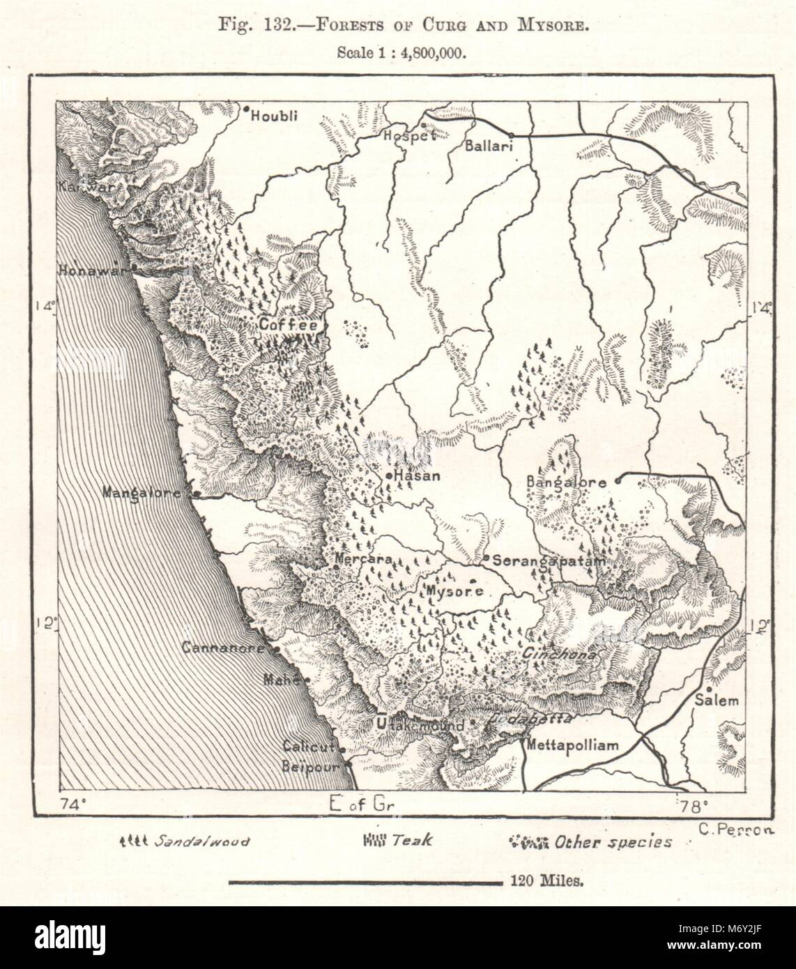 Carte De Linde Mysore.Forets D Curg Et Mysore L Inde Croquis 1885 Ancienne Carte Plan