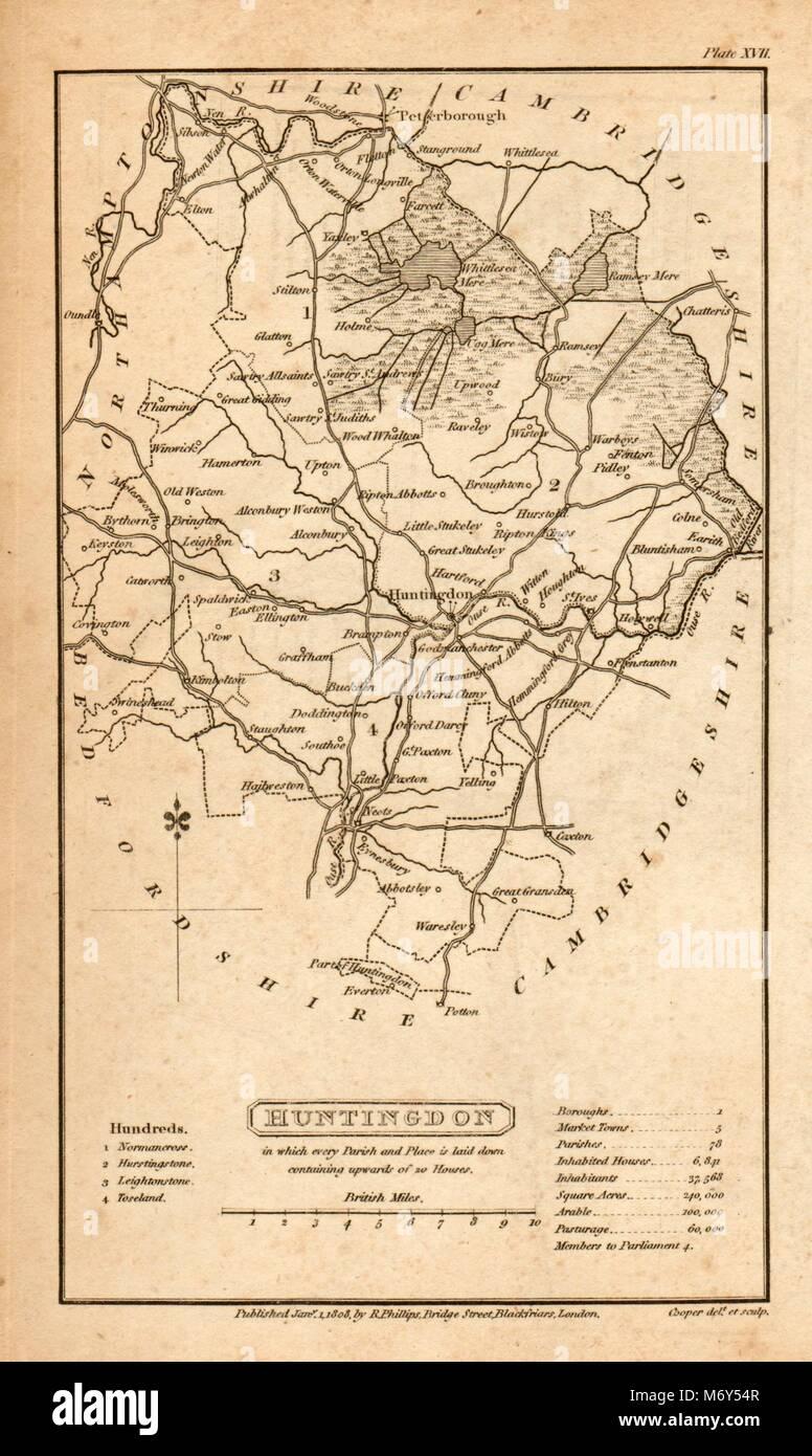 Maps, Atlases & Globes Europe Maps Royston-arrington-caxton-huntingdon-stilton Road Map By Owen & Bowen 1753