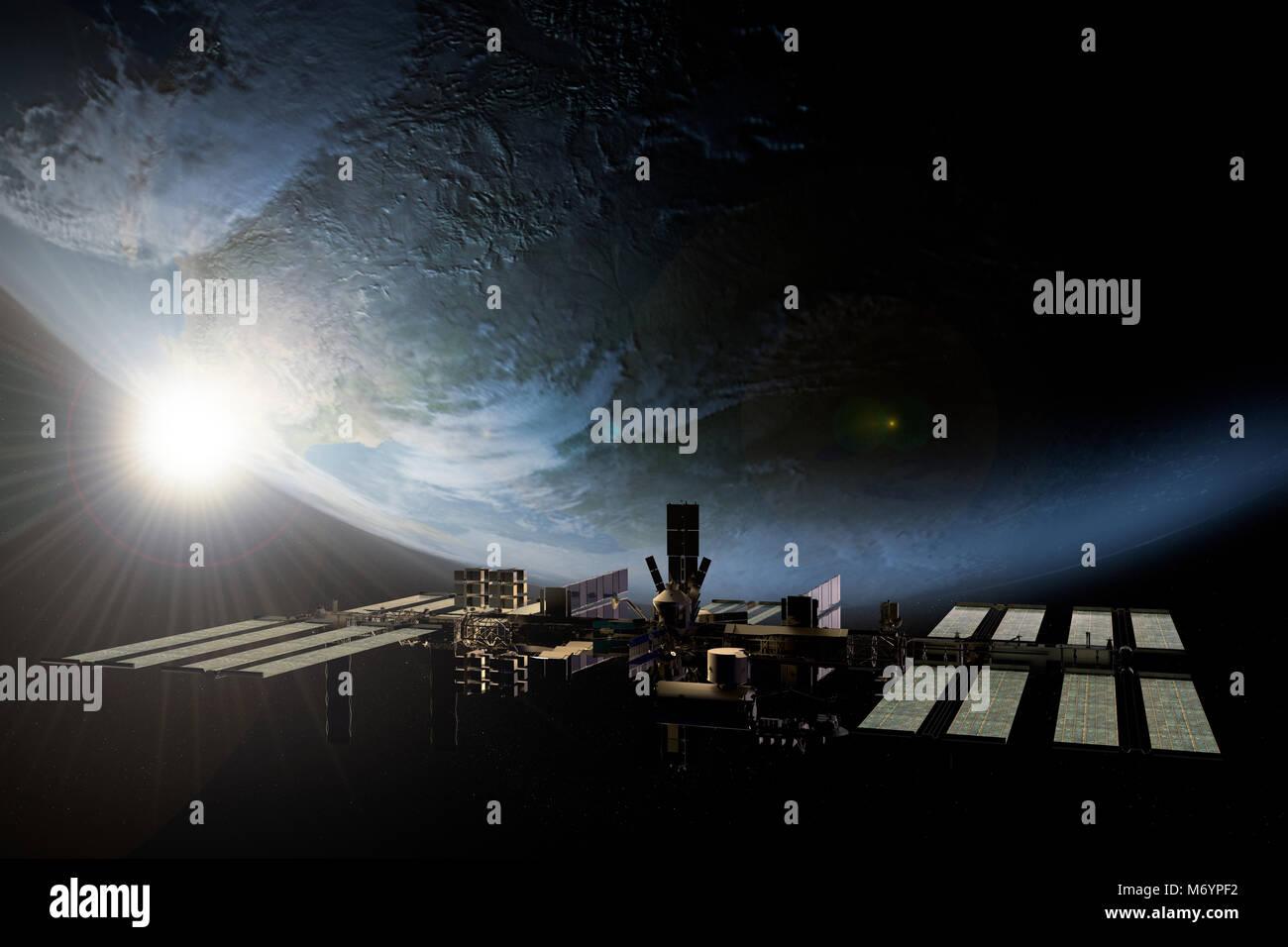 Le rendu 3D de la station spatiale internationale en orbite autour de la Terre Photo Stock