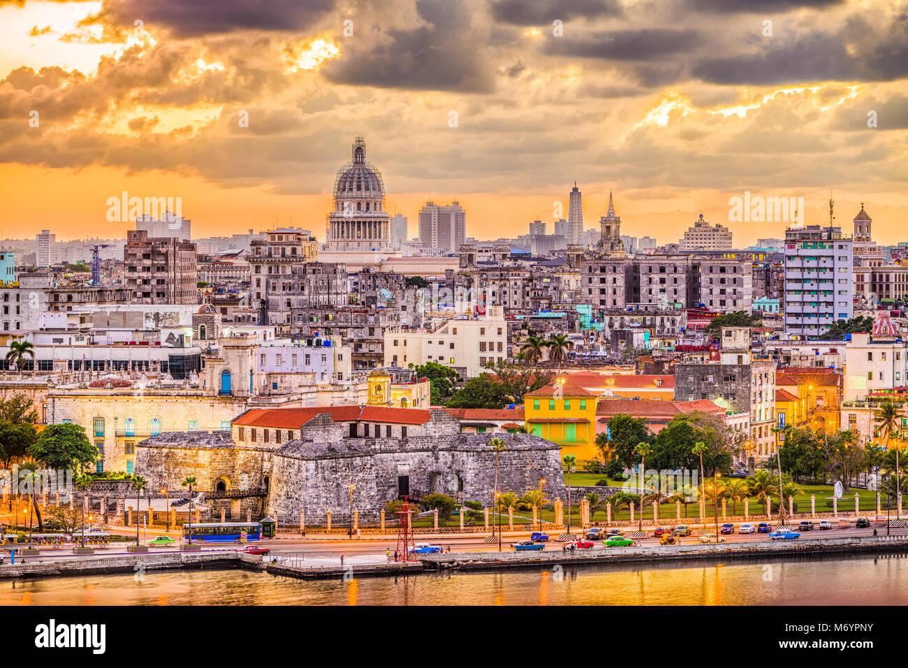 La Havane, Cuba le centre-ville. Photo Stock