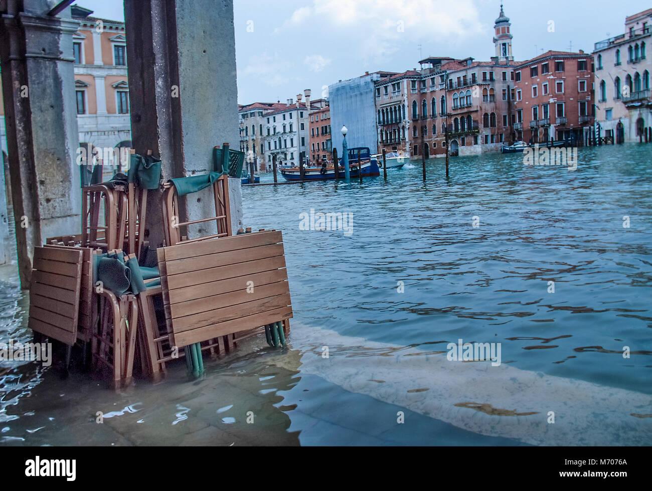 Acqua Alta,Grand Canal, Venice Photo Stock