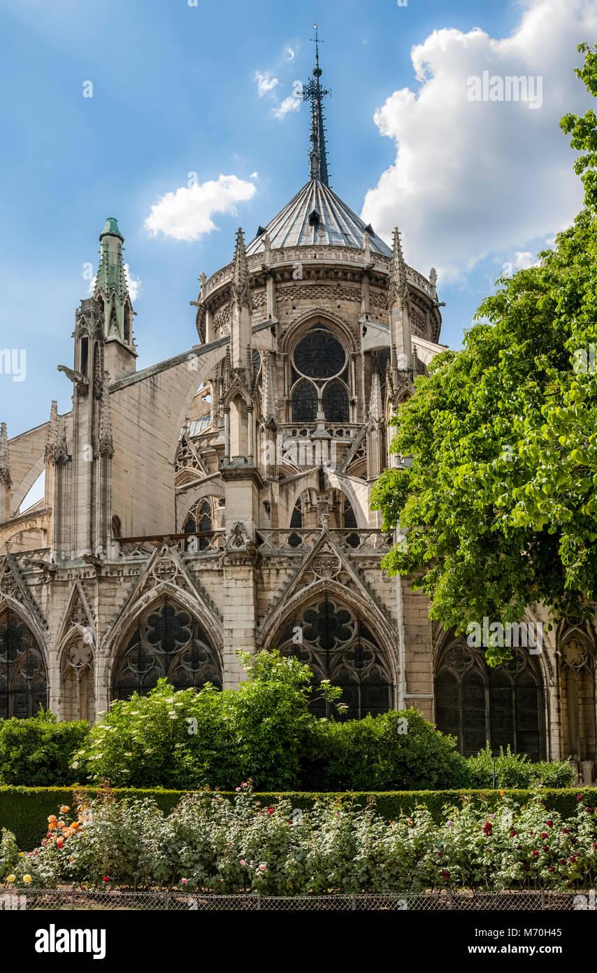 PARIS, FRANCE: la cathédrale Notre-Dame sur l'Ile de la Cité vue depuis le jardin Jean XXIII Photo Stock