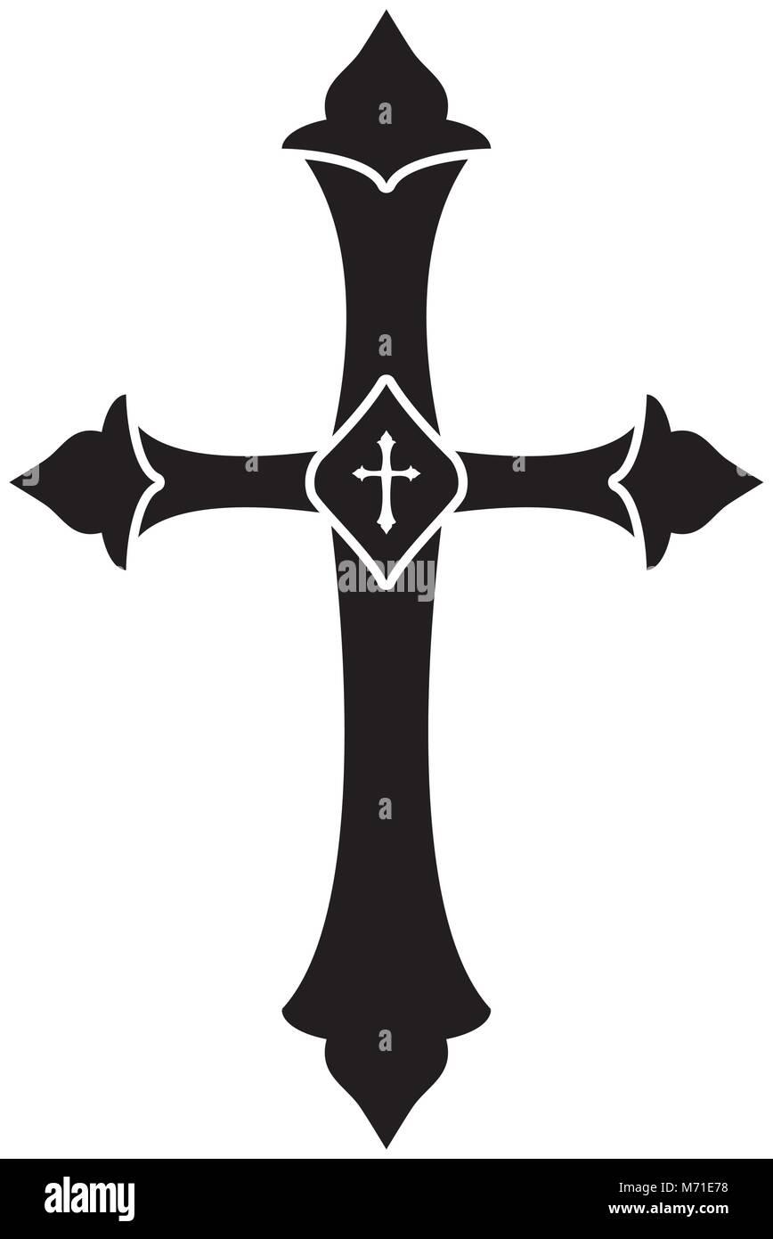 Croix Religieuses croix religieuses sur fond blanc, vector illustration vecteurs et