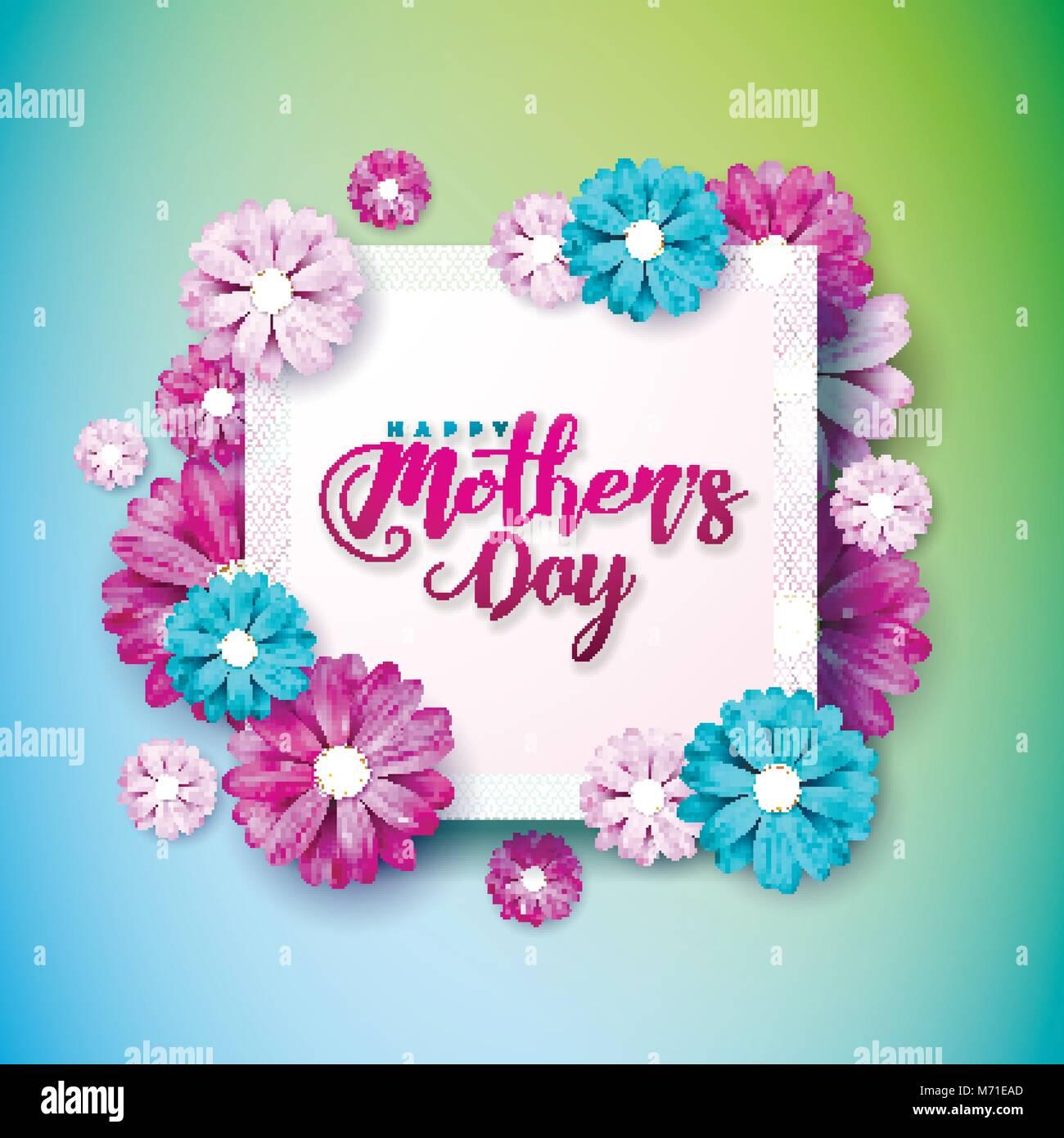Heureuse Fête Des Mères Carte De Souhaits Avec Fleur Sur Fond Rose