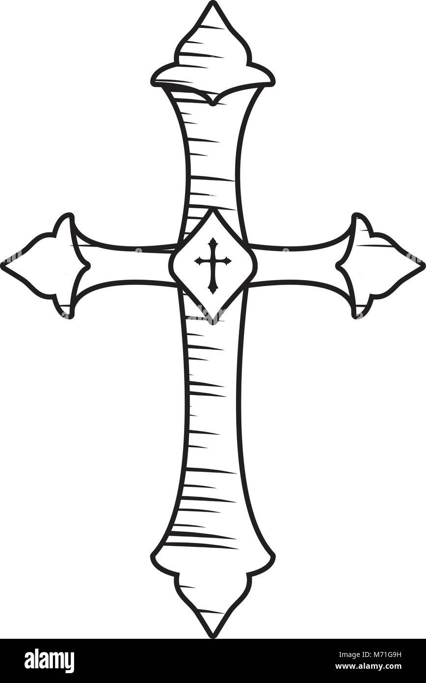 Croix Religieuses croquis de l'icône en forme de croix religieuses sur fond blanc