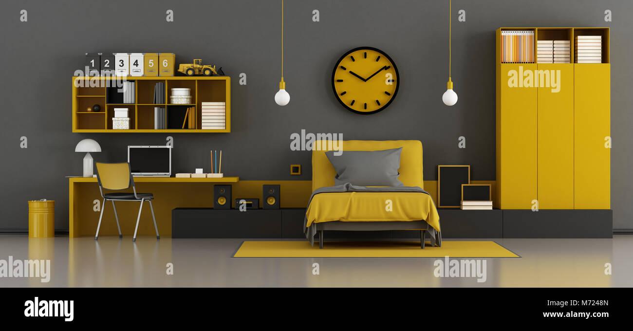 Chambre denfant noir et jaune avec lit et bureau 3d rendering