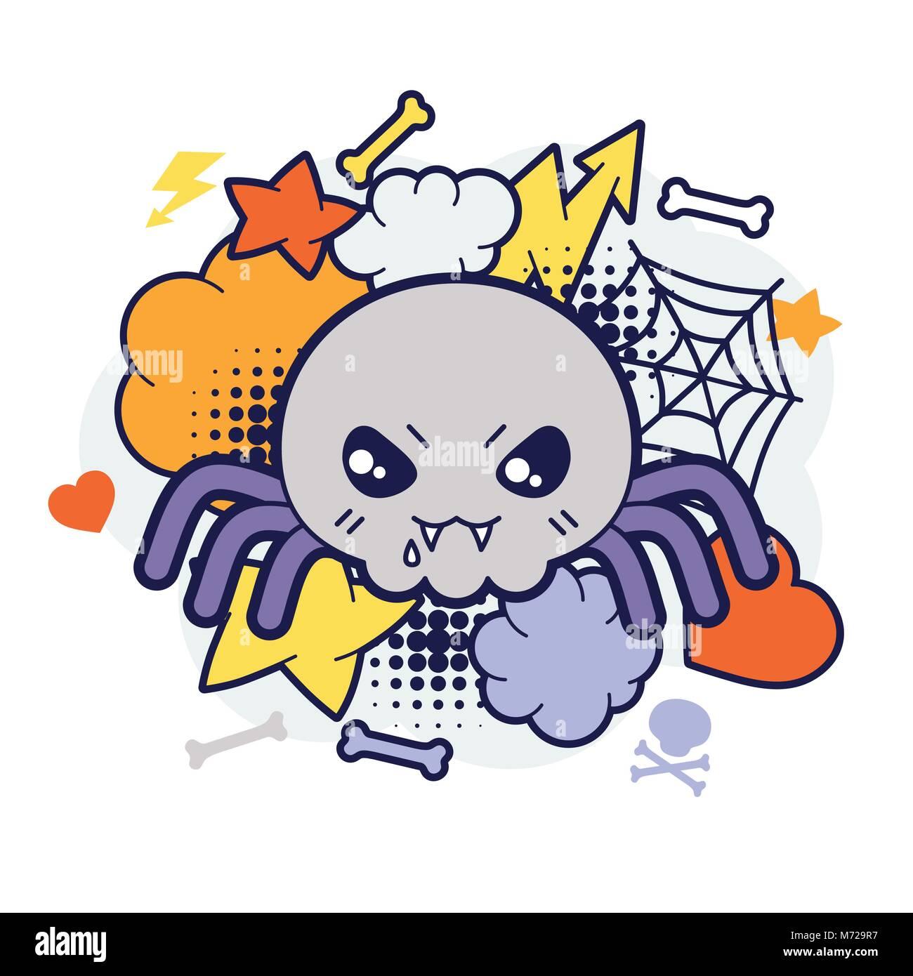 Kawaii Halloween Imprimer Ou Carte Avec Mignon Spider Doodle