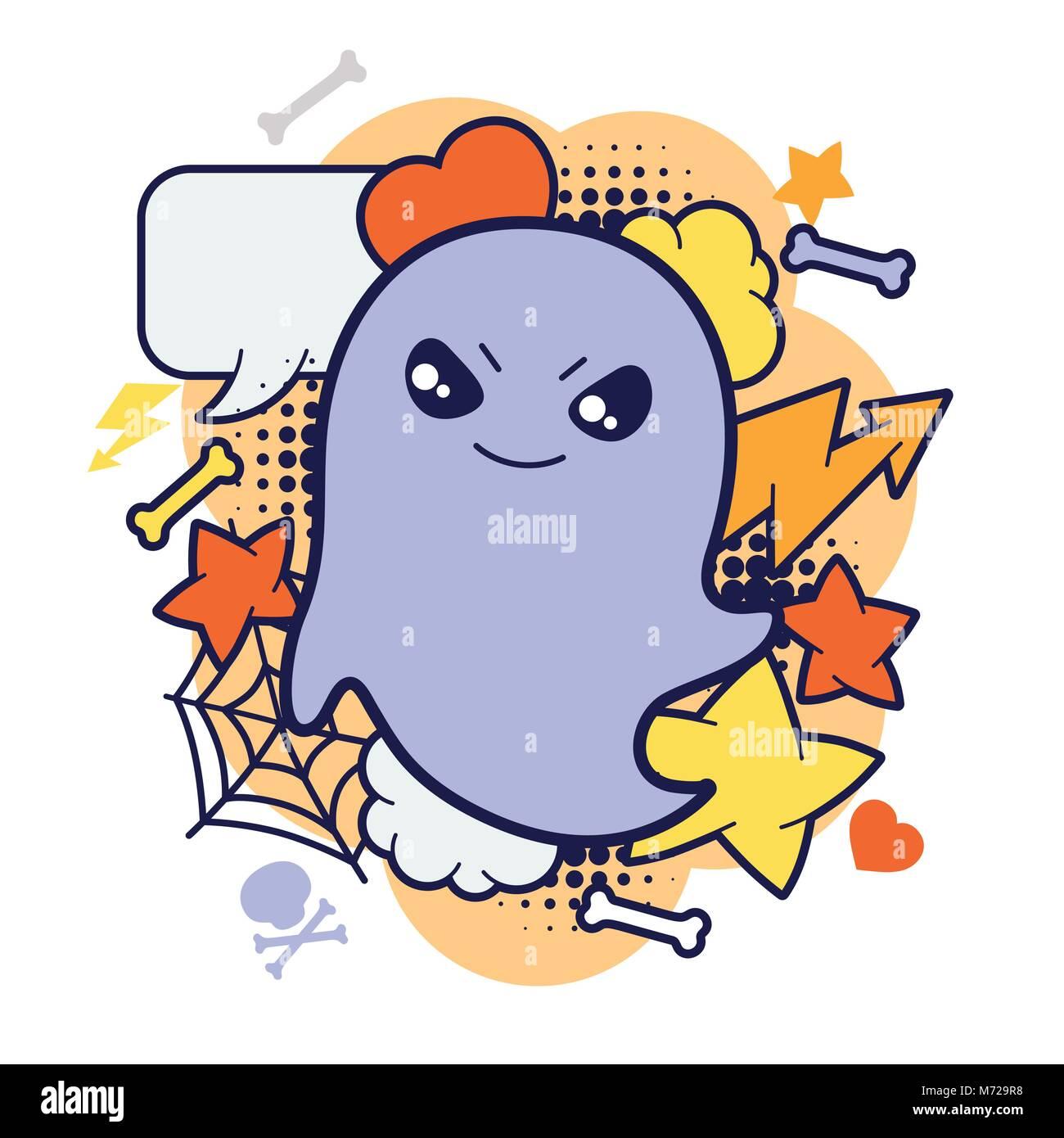 Kawaii Halloween Imprimer Ou Carte Avec Mignon Fantôme
