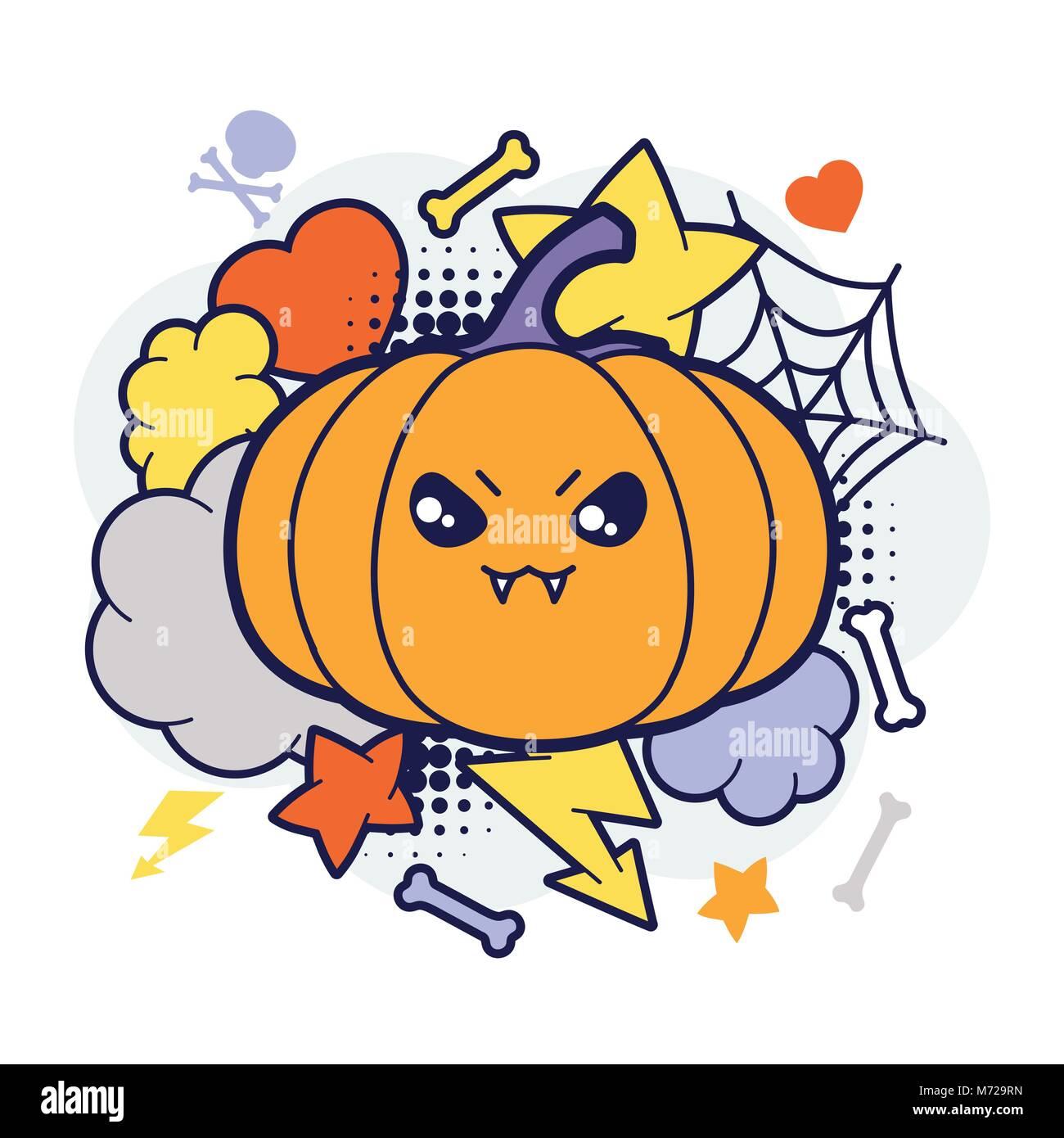 Kawaii Halloween Imprimer Ou Carte Avec Mignon Citrouille