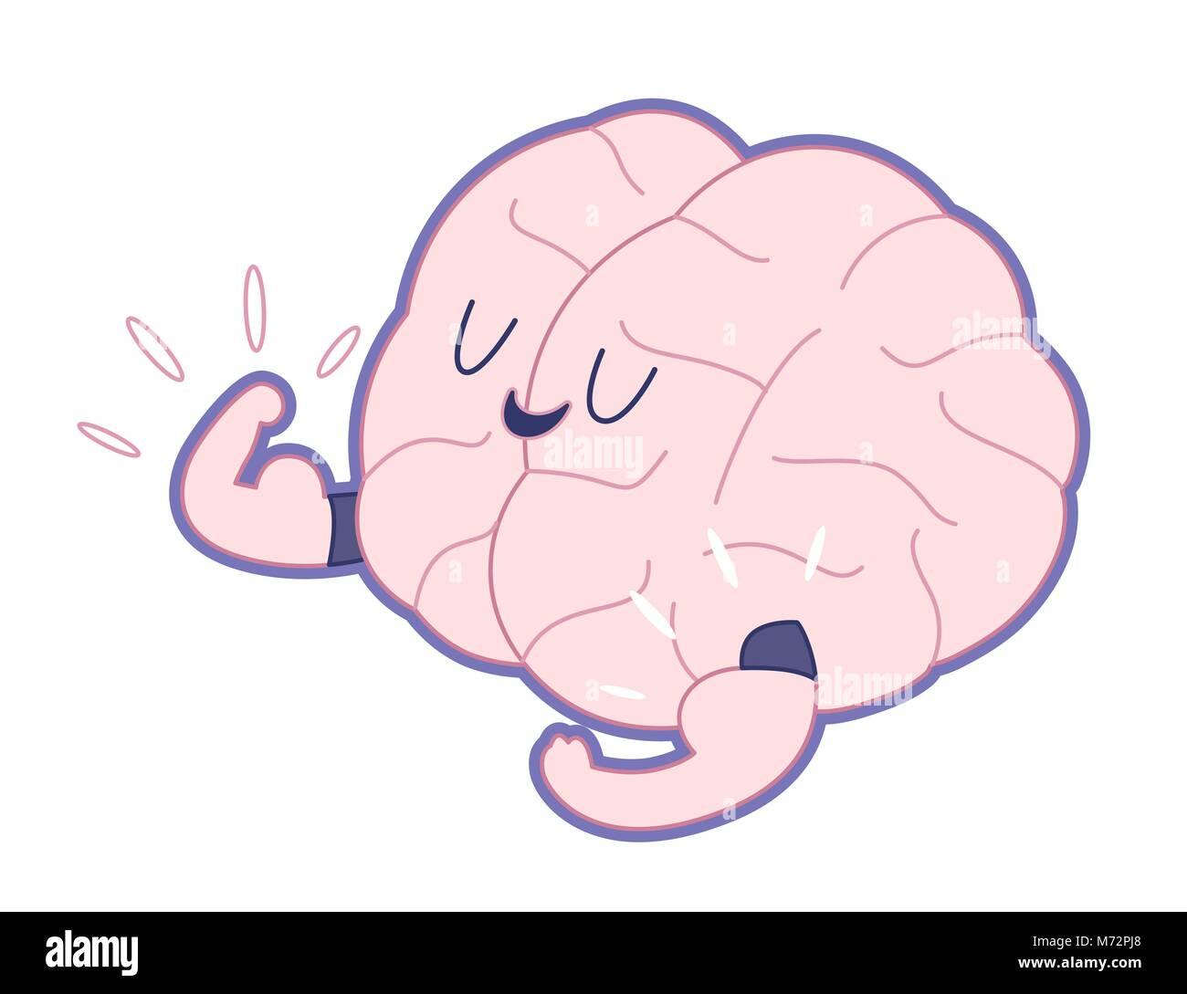 Le champion du cerveau montrant il s biceps télévision décrites cartoon illustration - Entraînez votre cerveau série. Illustration de Vecteur