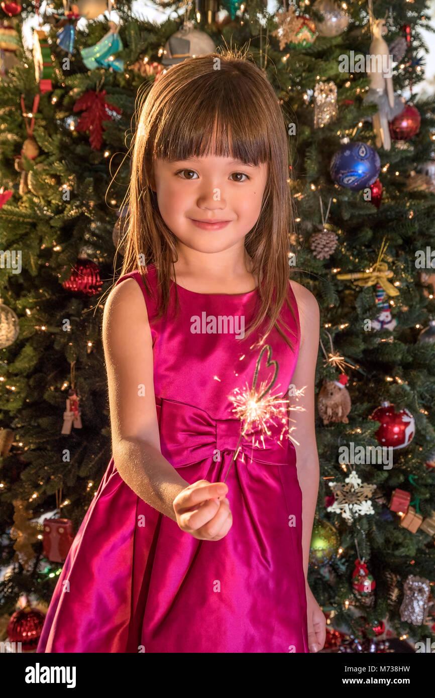 Petite fille de cinq ans holding a sparkler à la veille de Noël Banque D'Images