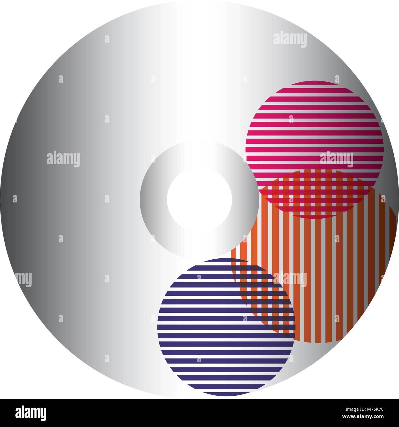 CD avec des rayures et des cercles sur fond blanc design vector illustration Photo Stock