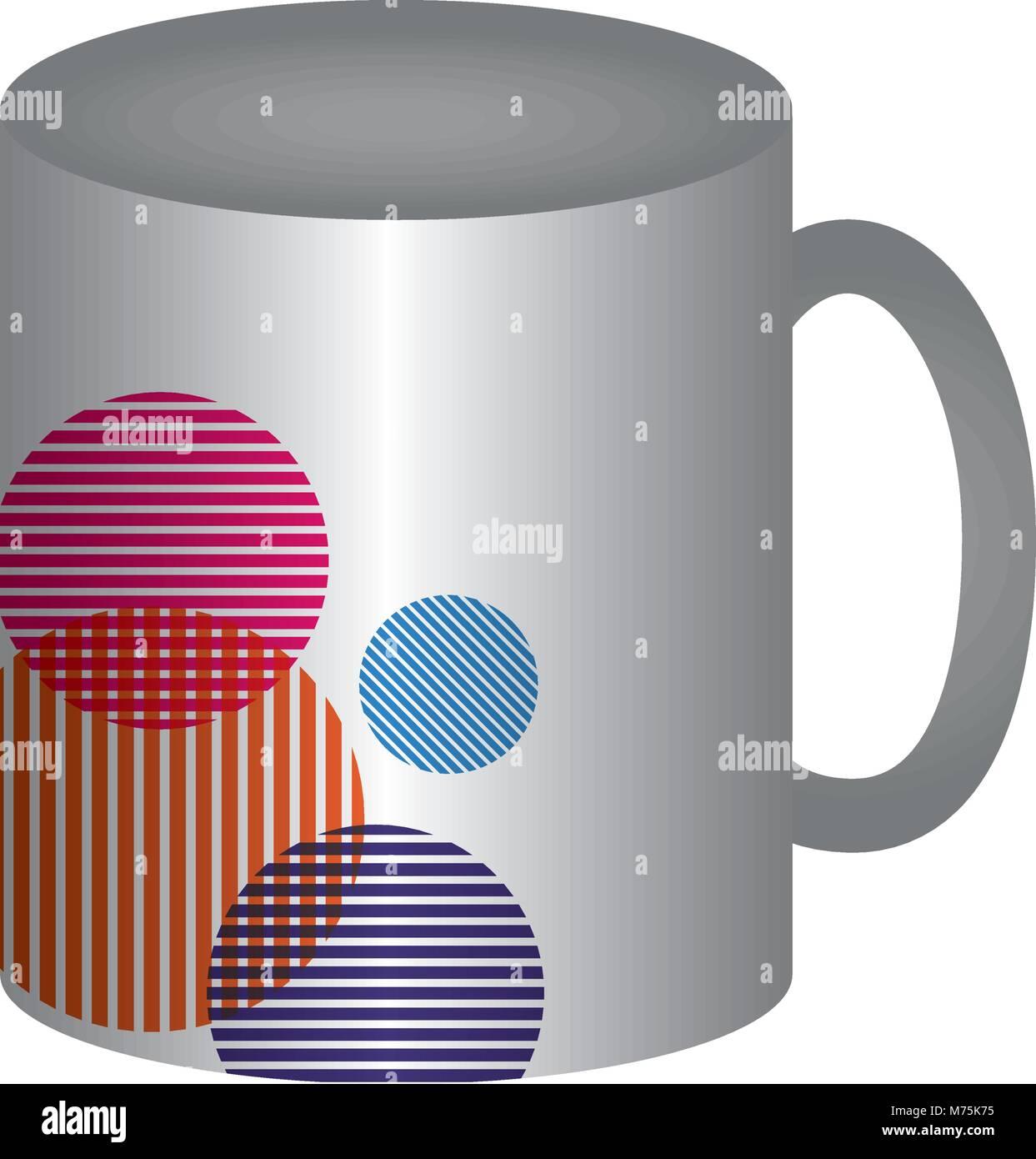 Mug avec des cercles colorés sur fond blanc design vector illustration Photo Stock
