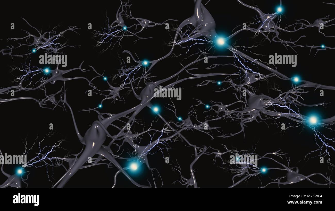 Les cellules du cerveau avec allumage électrique Photo Stock