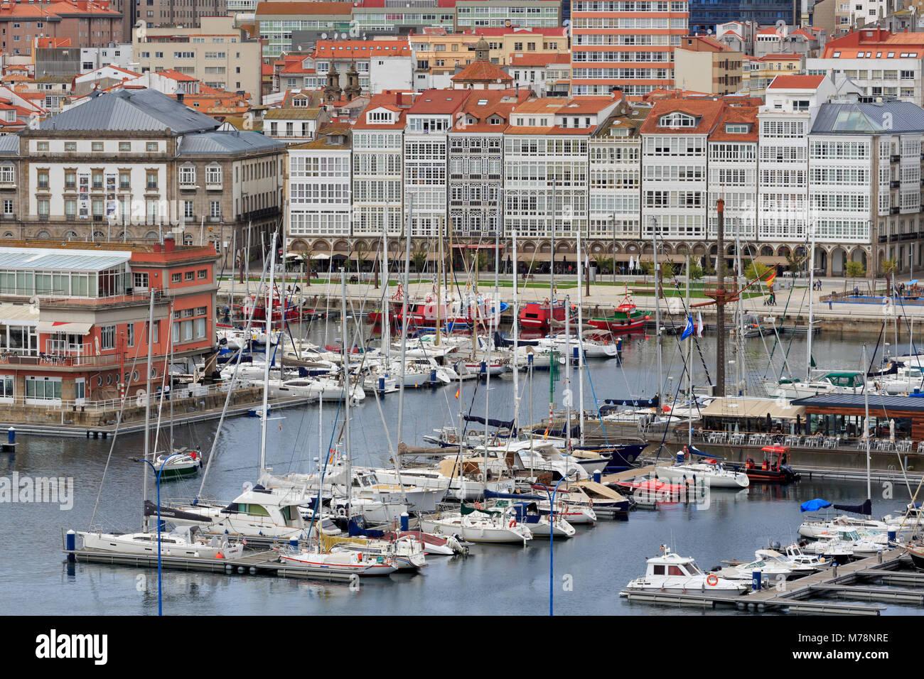 Port de Plaisance, la Ville de La Corogne, Galice, Espagne, Europe Photo Stock