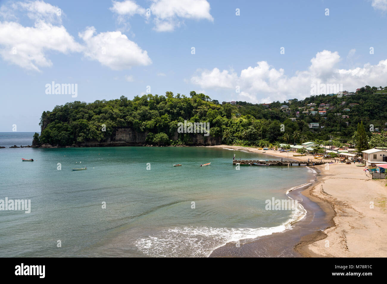 La plage de Anse la Raye, Sainte-Lucie, îles du Vent (Antilles Caraïbes, Amérique Centrale Photo Stock