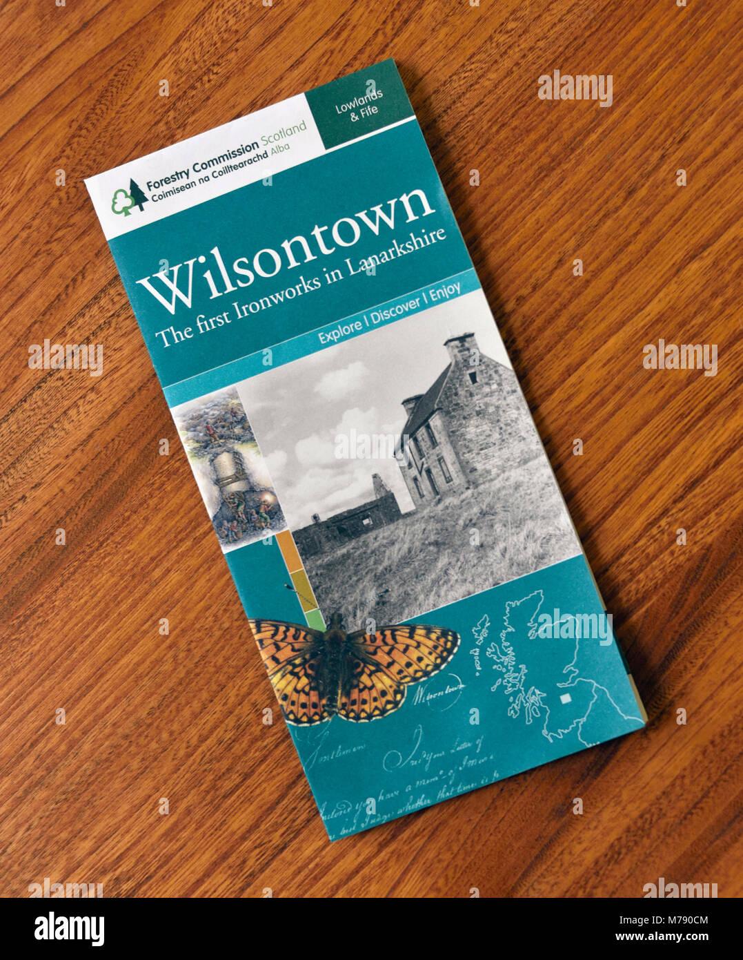 Brochure de la Commission des forêts de l'Écosse. Wilsontown, Forth, Lanarkshire, Écosse, Royaume Photo Stock