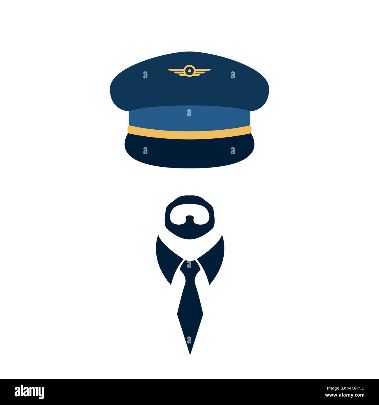 Portrait De Pilote Dans Un Chapeau Et Cravate Vector Illustration
