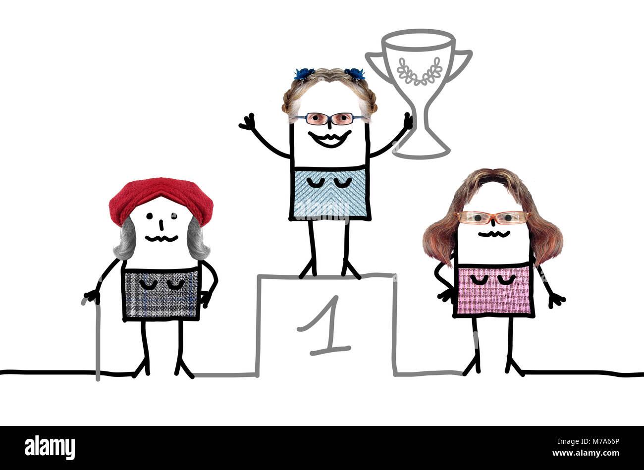 Cartoon Meilleur Grand Mère sur podium avec tasse Photo Stock