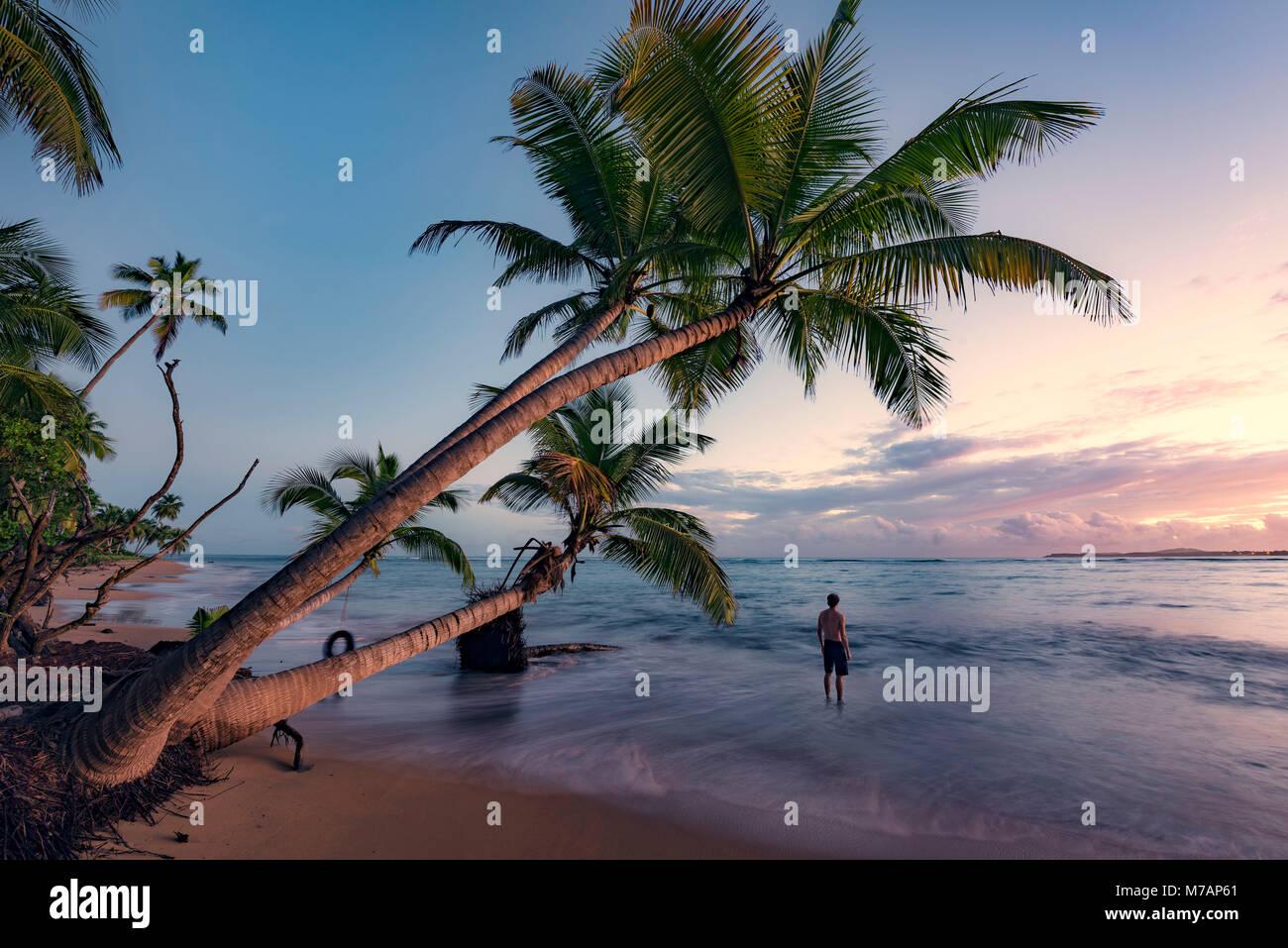 L'homme sur une plage sauvage au lever du soleil sur l'île des Caraïbes Puerto Rico Photo Stock