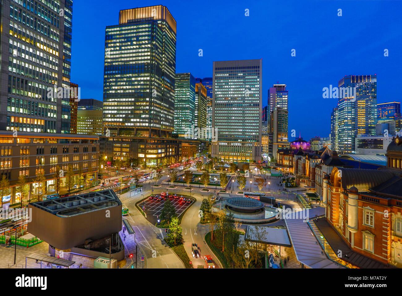 Le Japon, la ville de Tokyo, la gare de Tokyo, côté ouest Photo Stock
