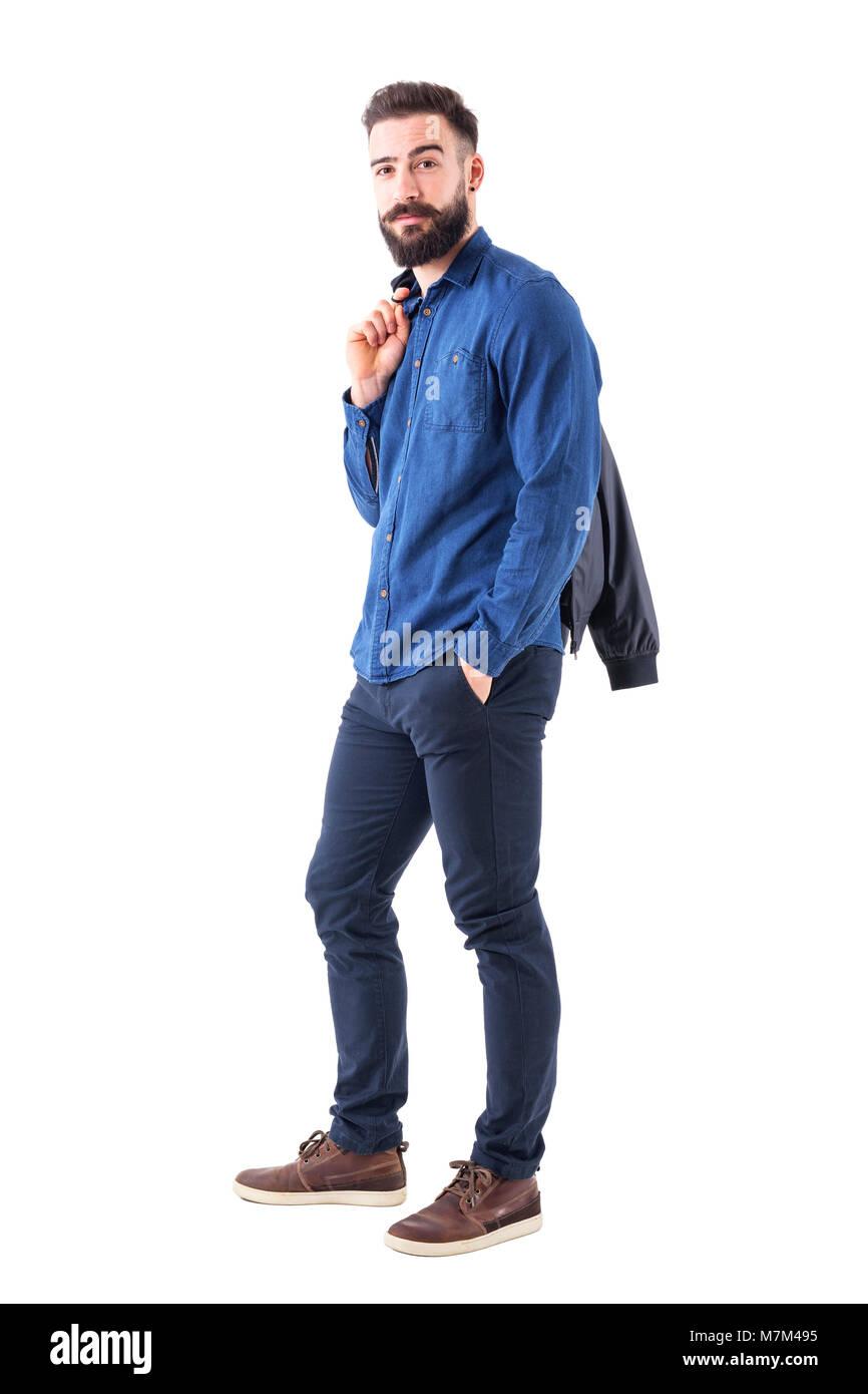 Barbu Jeune En Homme Exerçant Latérale Bleue Chemise Du Son Vue xqIfRx