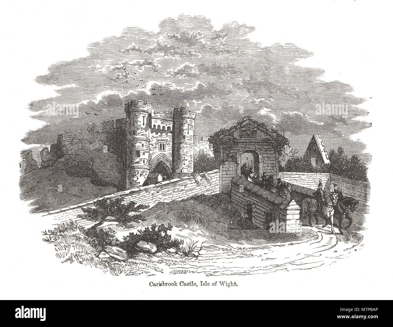 Château de Carisbrooke, île de Wight, Charles I a été emprisonné ici pendant 14 mois avant Photo Stock