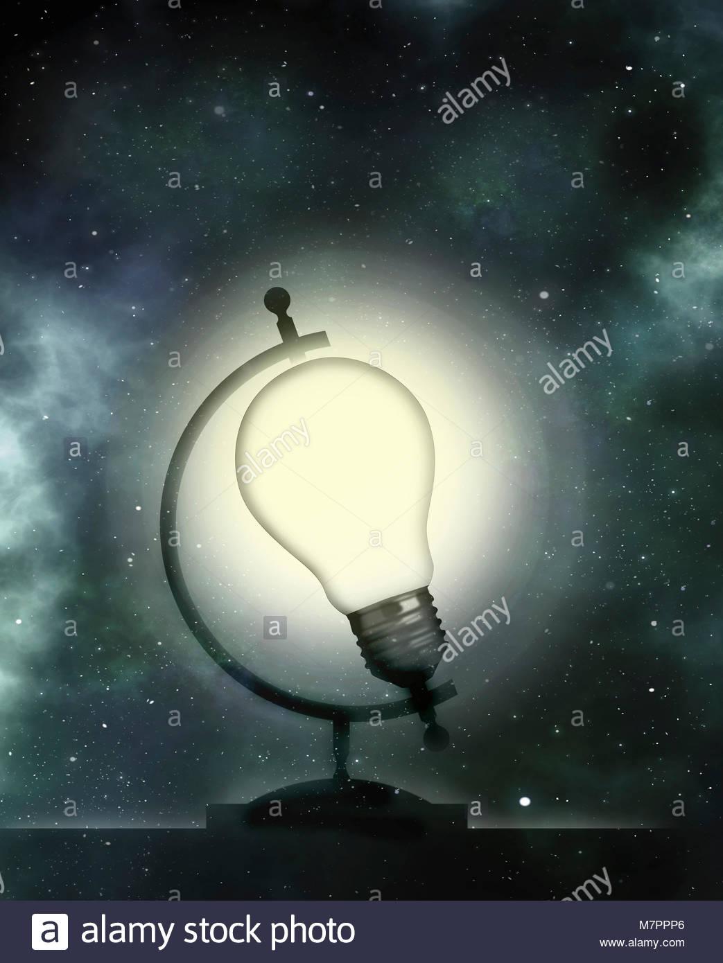 Ampoule illuminée comme globe Photo Stock