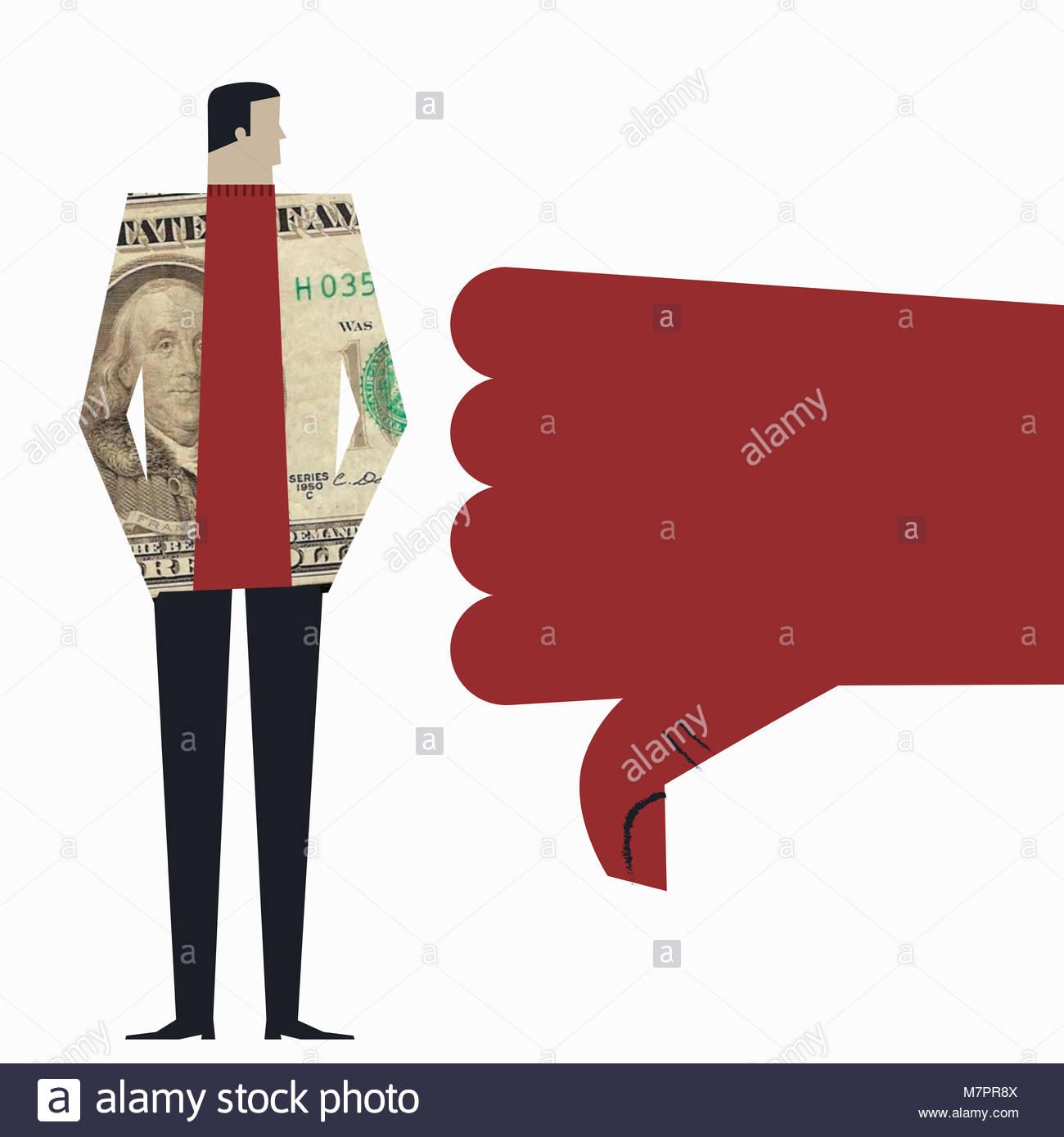 Veste homme portant des billets en dollars américains étant donné vers le bas. Photo Stock
