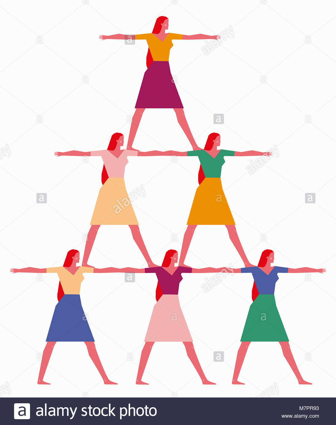 Les femmes formant pyramide humaine Banque D'Images