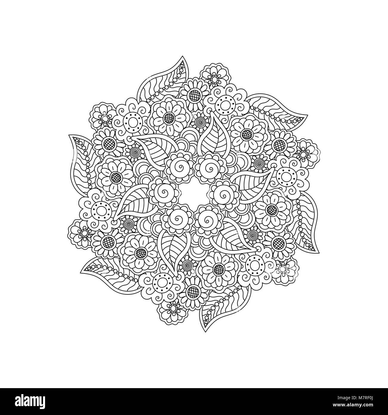 Vector Black Deco Floral Mandala Element De Design A Motifs La Page De Coloriage Pour Adultes Antistress Image Vectorielle Stock Alamy