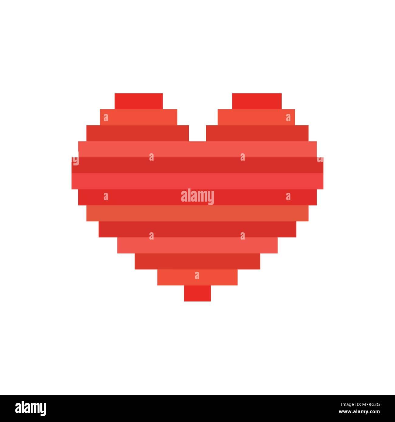 Vector Pixel Art Coeur Symbole De Lamour Carte Pour La