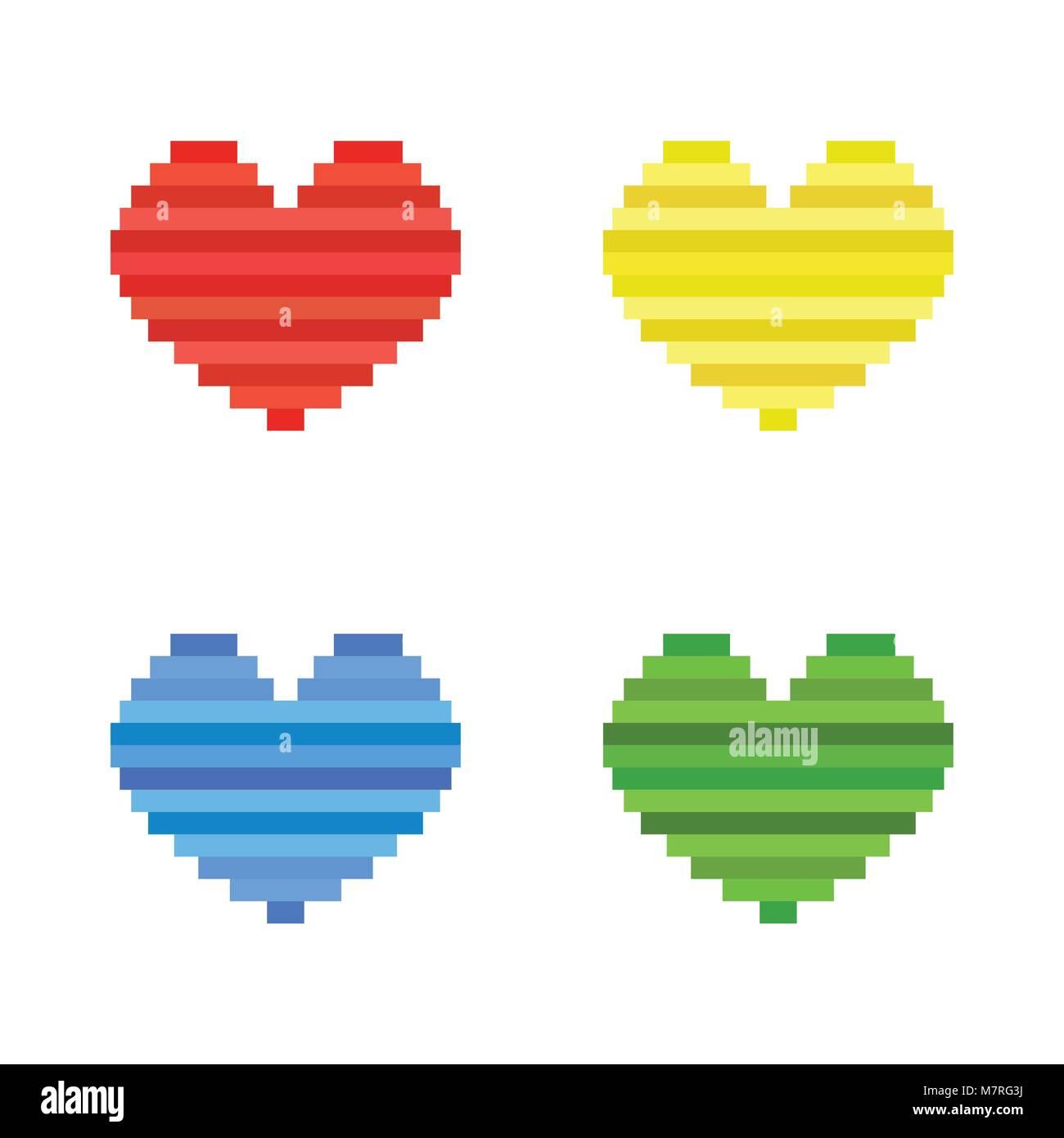Vector Set De Pixel Art Coeur Modèle Plat Symbole De L