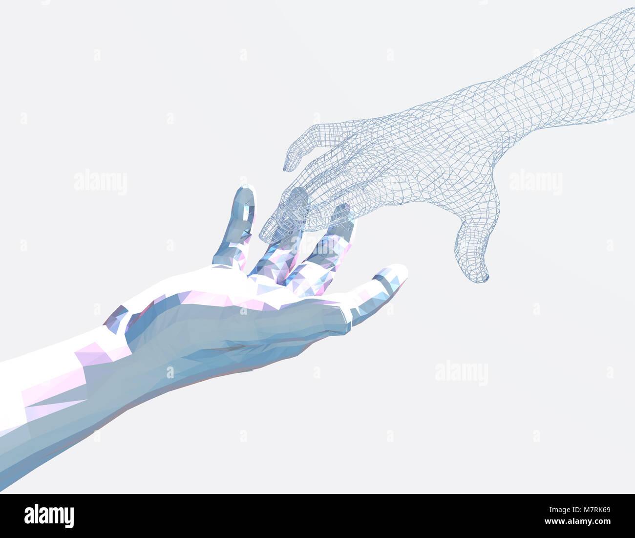 La technologie de l'homme intelligent, de communication, de transmission de données de communication intelligente Photo Stock